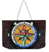 License Plate Compass North South East West Road Trip Letters On Old Red Barn Wood Weekender Tote Bag