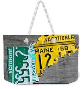 License Plate Map Of New England States Weekender Tote Bag