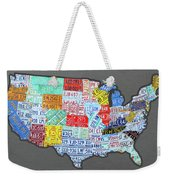 License Plate Map Of The United States Edition 2016 On Steel Background Weekender Tote Bag