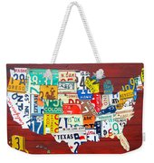 License Plate Map Of The United States - Midsize Weekender Tote Bag