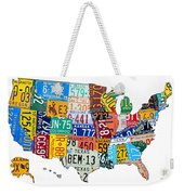 License Plate Map Of The United States Outlined Weekender Tote Bag by Design Turnpike