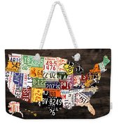 License Plate Map Of The United States - Warm Colors / Black Edition Weekender Tote Bag