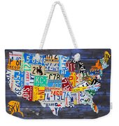 License Plate Map Of The Usa On Blue Wood Boards Weekender Tote Bag
