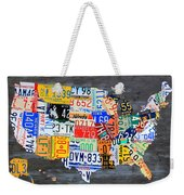 License Plate Map Of The Usa On Gray Distressed Wood Boards Weekender Tote Bag