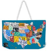 License Plate Map Of The Usa On Royal Blue Weekender Tote Bag