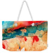 Life Eternal Red And Green Abstract Weekender Tote Bag