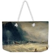 Lifeboat And Manby Apparatus Going Off To A Stranded Vessel Making Signal Of Distress Weekender Tote Bag