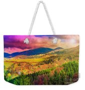 Light  Beam Falls On Hillside With Autumn Forest In Mountain Weekender Tote Bag