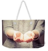 Light In Young Woman's Hands Weekender Tote Bag