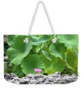 Light Purple Water Lily And Large Green Leaves Weekender Tote Bag