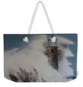 Lighthouse In A Storm Weekender Tote Bag by David Hawkes