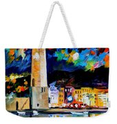 Lighthouse In Crete - Palette Knife Oil Painting On Canvas By Leonid Afremov Weekender Tote Bag