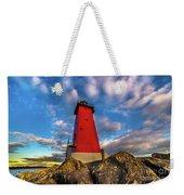 Lighthouse Manistique Sunset -5350 Weekender Tote Bag