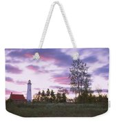 Lighthouse On A Landscape, Tawas Point Weekender Tote Bag