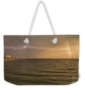 Lightning And Rainbow, Fort Myers Beach, Fl Weekender Tote Bag