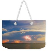 Lightning At Sunset With Star Trails Weekender Tote Bag