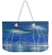 Lightning By The Lake Original Oil Painting Weekender Tote Bag