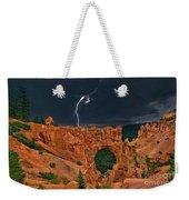 Lightning Over Natural Bridge Formation Bryce Canyon National Park Utah Weekender Tote Bag by Dave Welling