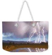 Lightning Striking Longs Peak Foothills 4 Weekender Tote Bag