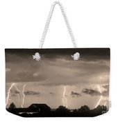 Lightning Thunderstorm July 12 2011 Strikes Over The City Sepia Weekender Tote Bag