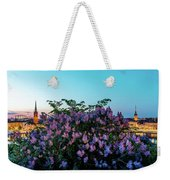 Lilacs And Sunset To Blue Hour Transition Over Gamla Stan In Stockholm Weekender Tote Bag