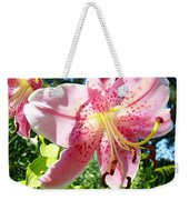 Lilies Art Prints Pink Lily Flowers 2 Giclee Prints Baslee Troutman Weekender Tote Bag