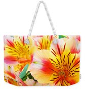 Lilies Art Prints Pink Yellow Lily Flowers 1 Giclee Prints Baslee Troutman Weekender Tote Bag