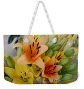 Lillies - Peach And Yellow Colors Weekender Tote Bag