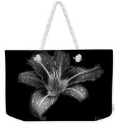 Lily Raindrops In Giverny, France, Black And White Weekender Tote Bag