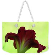 Lily Red On Yellow Green - Daylily Weekender Tote Bag