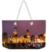 Lima Cathedral And Plaza De Armas At Night Weekender Tote Bag