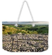 Limestone Pavement At Malham Cove At Sunset Weekender Tote Bag