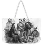 Lincoln And His Generals Black And White Weekender Tote Bag by War Is Hell Store