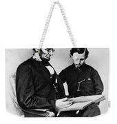 Lincoln Reading To His Son Weekender Tote Bag