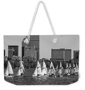 Line Of Boats On The Charles River Boston Ma Black And White Weekender Tote Bag