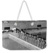 Lineup Of Ncaa Men Swimmers Weekender Tote Bag
