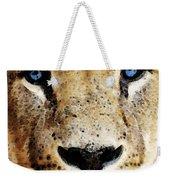 Lion Art - Blue Eyed King Weekender Tote Bag by Sharon Cummings