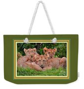 Lion Cubs. L A With Decorative Ornate Printed Frame. Weekender Tote Bag