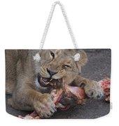 Lion Eating Weekender Tote Bag
