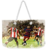 Lionel Messi Challenges The Athletic Bilbao Defense Weekender Tote Bag