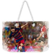 Lionel Messi  Fights For The Ball Weekender Tote Bag