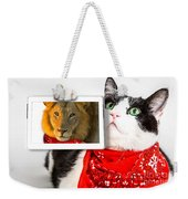 Lions Heart Cat Weekender Tote Bag by Benny Marty