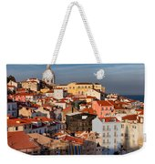 Lisbon Cityscape In Portugal At Sunset Weekender Tote Bag