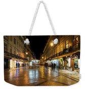 Lisbon Portugal Night Magic - Nighttime Shopping In Baixa Pombalina Weekender Tote Bag