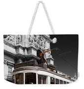 Lisbon's Typical Yellow Tram In Commerce Square Weekender Tote Bag