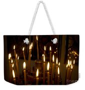 lit Candles in church  Weekender Tote Bag