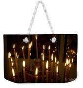 lit Candles in church  Weekender Tote Bag
