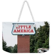 Little America Hotel Signage Vertical Weekender Tote Bag