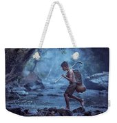 Little Asian Kid Fishing In The River Countryside Thailand. Weekender Tote Bag