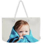 Little Baby Girl Tucked In A Cozy Blue Blanket. Weekender Tote Bag